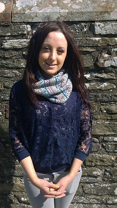 Snood in Love Fair Isle pattern in 3 colours