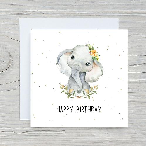 Baby Elephant Birthday Card