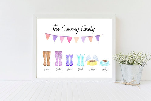 Family Welly Boot Picture-Personalised