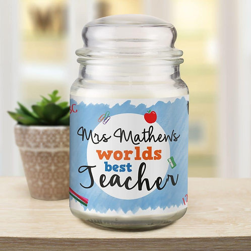 World's Best Teacher Candle Jar