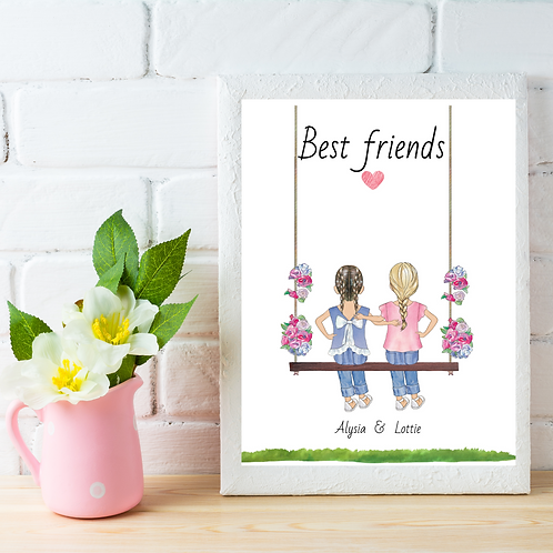 Personalised Girls Swing Picture
