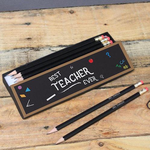 Best Teacher Chalkboard Black Pencils in Box