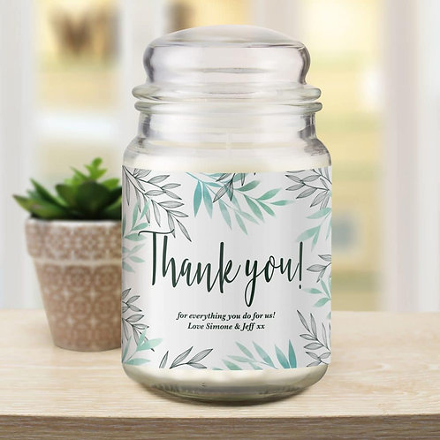 Floral Thank You Candle Jar