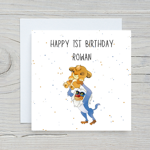 Baby Lion King 1st Birthday Card