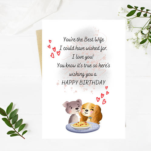 Birthday Card Wife or Husband Lady & The Tramp
