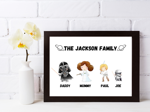 Personalised Space Themed Family Picture