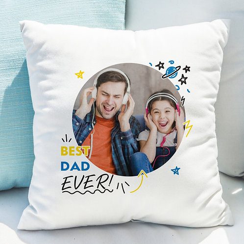Best Dad Ever Photo Upload Cushion
