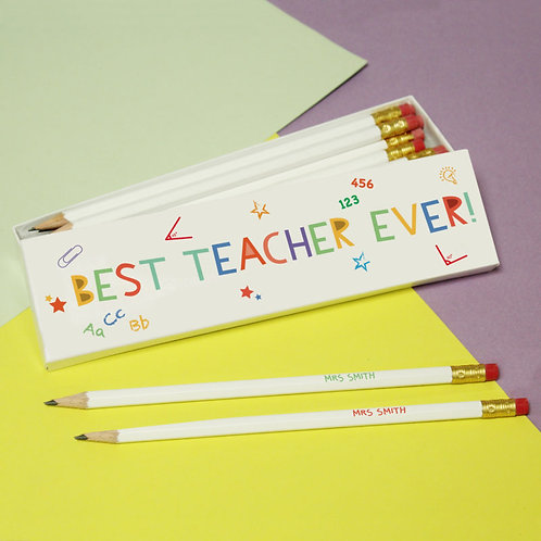 Very Hungry Caterpillar Best Teacher 12 White Pencils in White Box