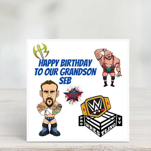Grandson Or Little Boy Wrestling Card