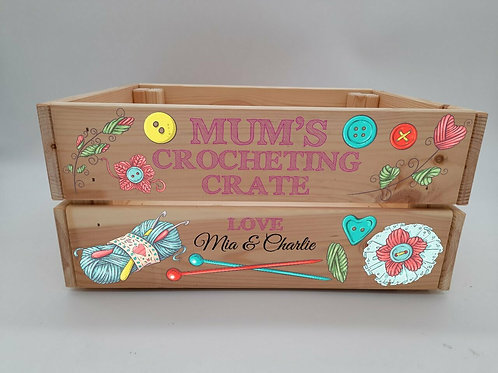Personalised Mum's Crocheting Crate