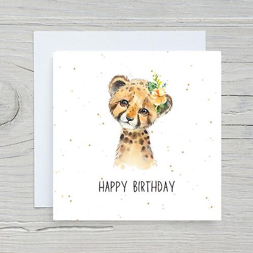 Baby Cheetah Birthday Card