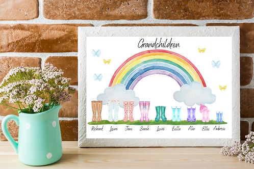 Rainbow Family Welly Boot Picture-Personalised