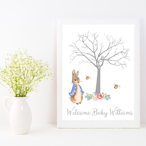 Personalised Peter Rabbit Baby Shower Guest Print