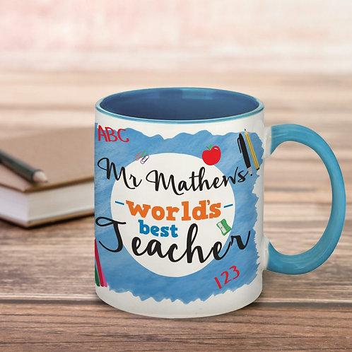 World's Best Teacher Blue Mug