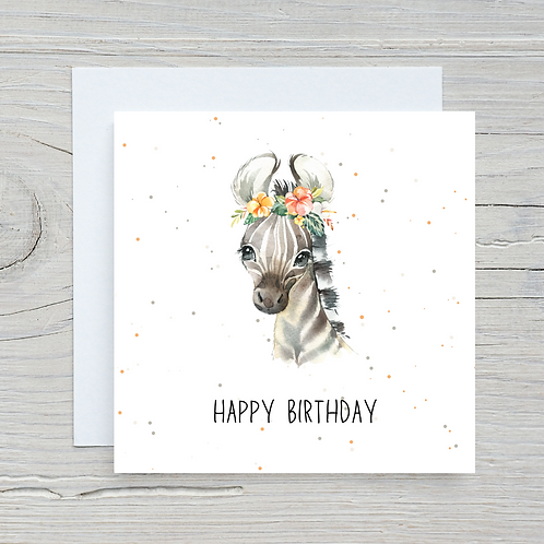 Baby Zebra Birthday Card