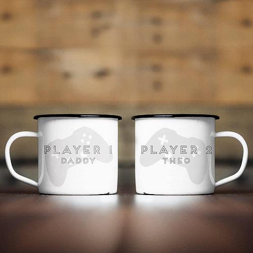 Player 1 & 2 Enamel Mug Set