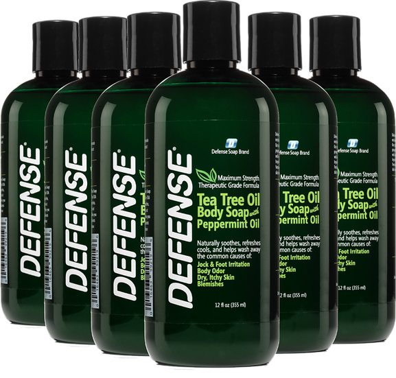 Defense Peppermint Shower Gel (12oz) - Pack of 6 | 低敏全天然薄荷味潔膚皂液 (12oz) - 6支裝