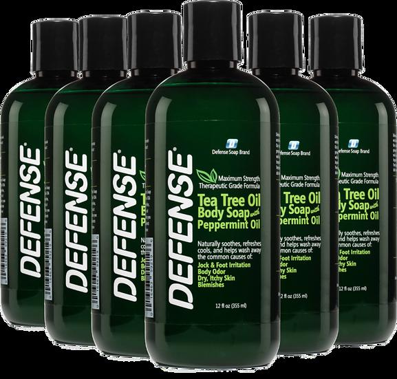 Defense Peppermint Shower Gel (12oz) - Pack of 6 | 低敏全天然薄荷味潔膚皂液 (12oz) - 6支裝