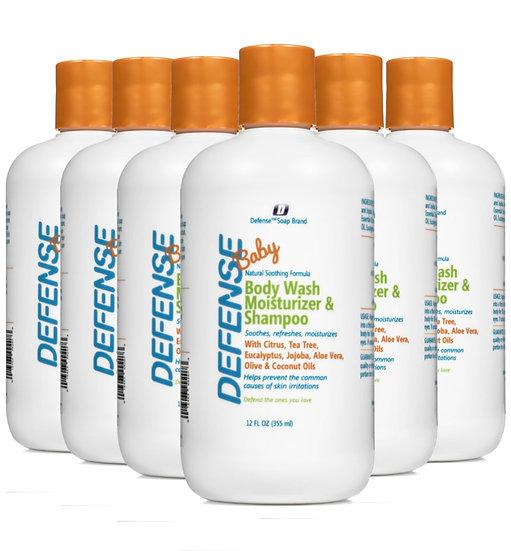 Defense Baby Wash Moisturizer & Shampoo - Pack of 6 | 全天然寶寶呵護洗髮沐浴露 (12oz) - 6支裝