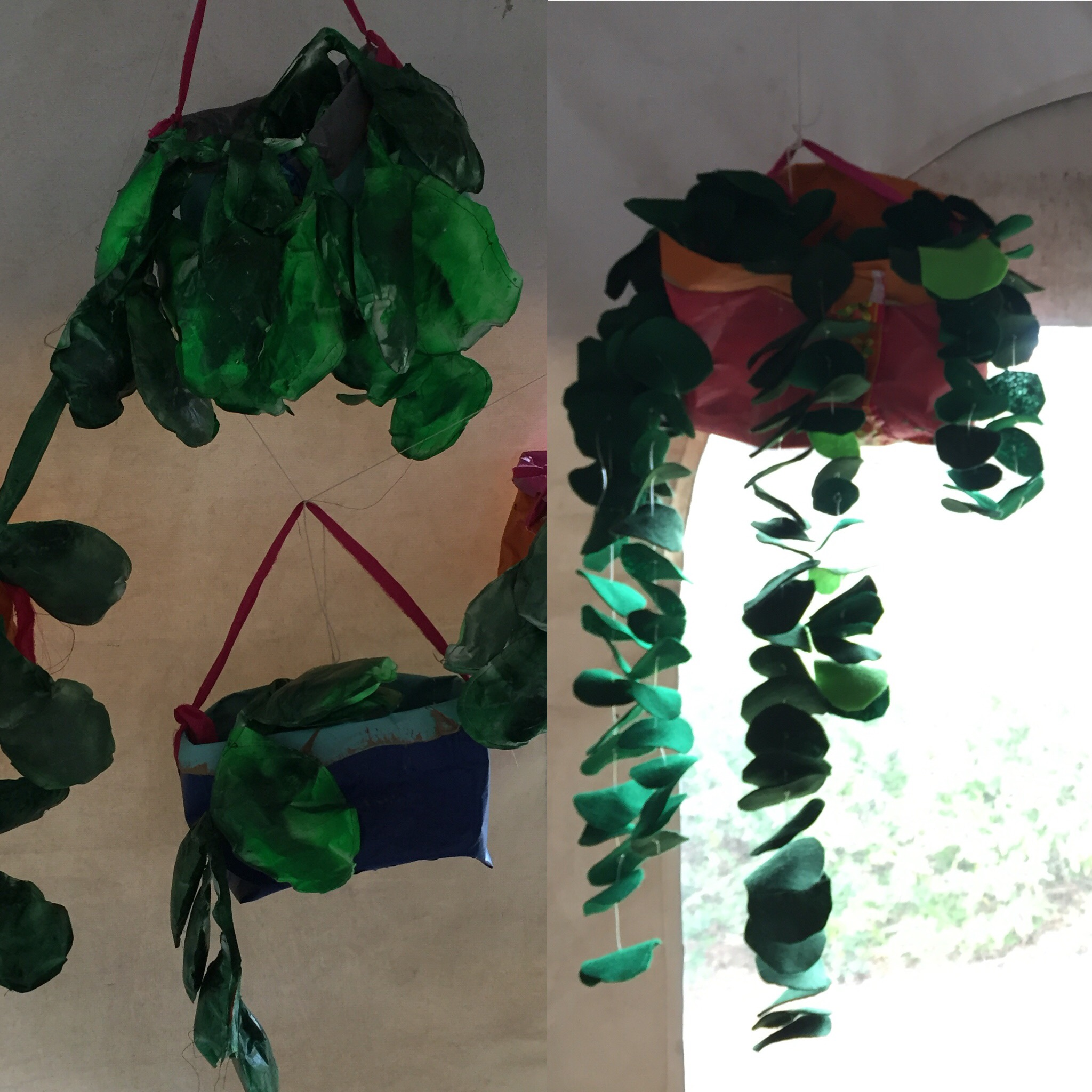 fabric hanging plants
