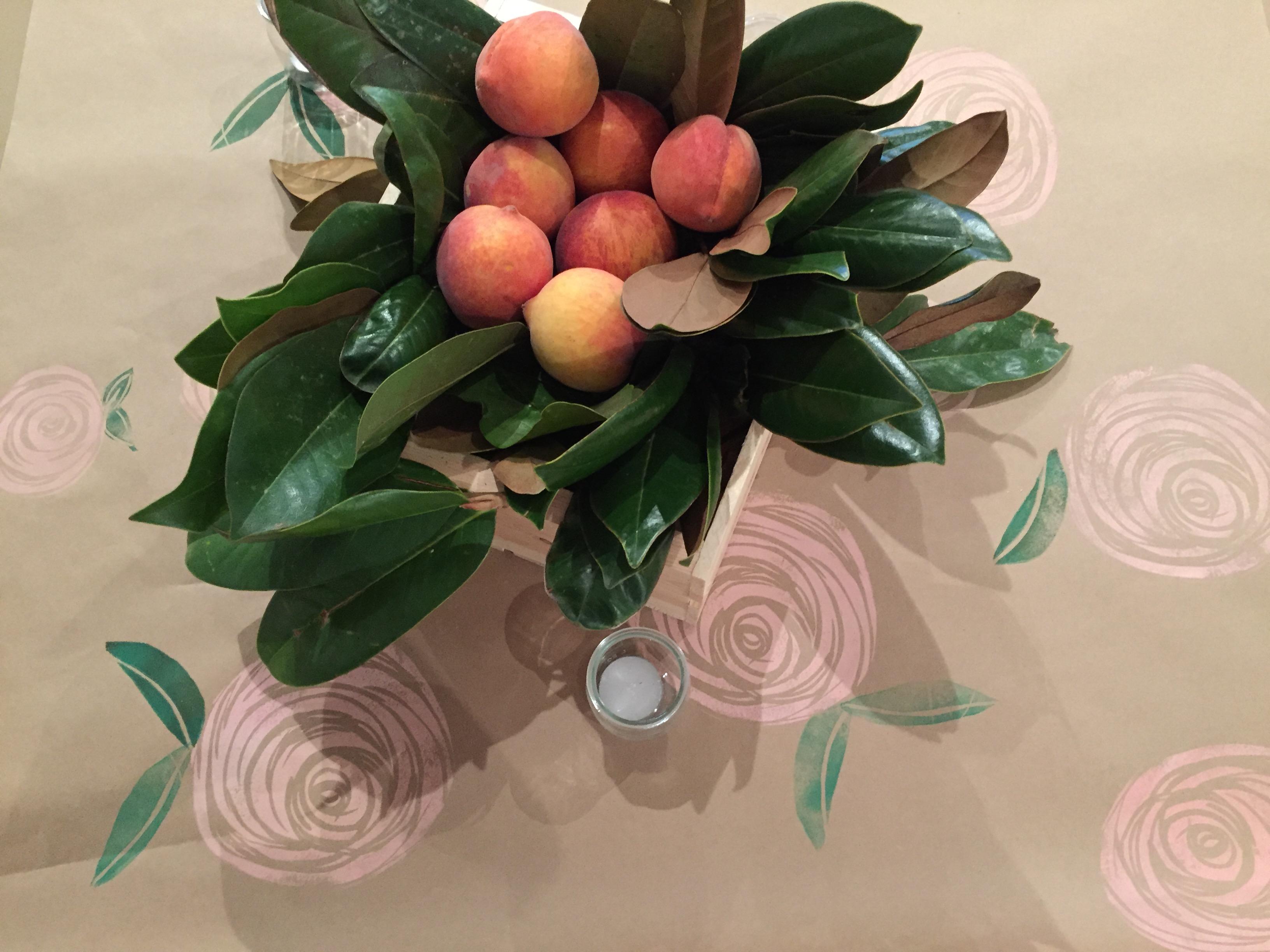 centerpieces peach magnolia