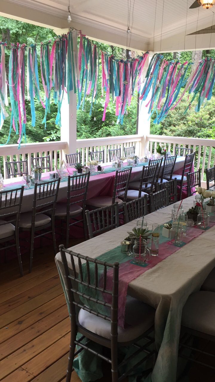 pink and teal bat mitzvah