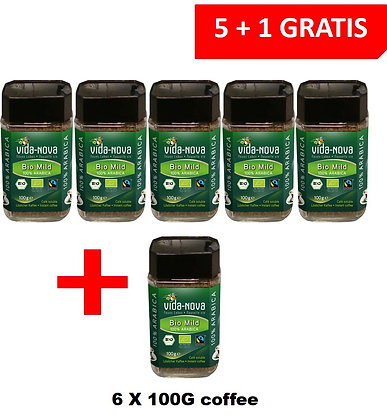 5+1 FOR FREE PROMOTION - VIDA NOVA BIO & FAIRTRADE INSTANT COFFEE 100 G