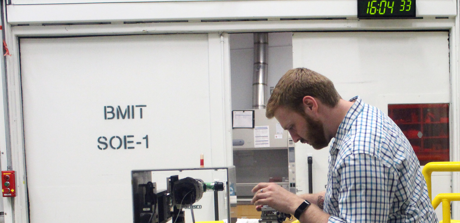 Graduate student, Reed Davis, at the Canadian Light Source.