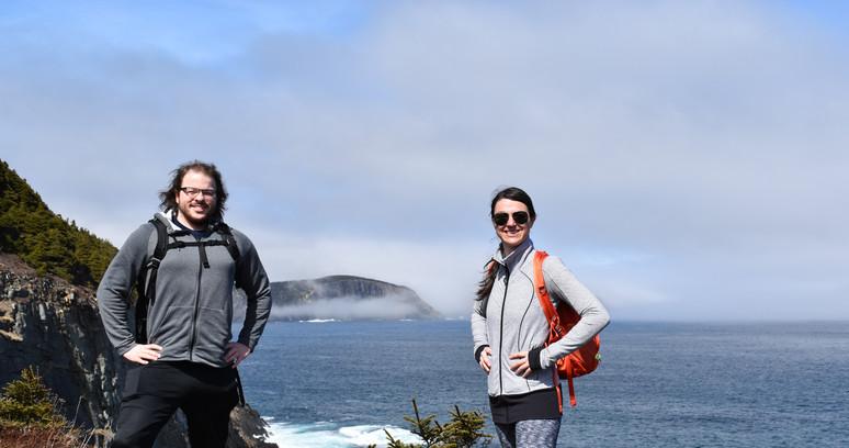 Dr. A and Josh Taylor at Silver Mine Head Path Trail, NL, Canada
