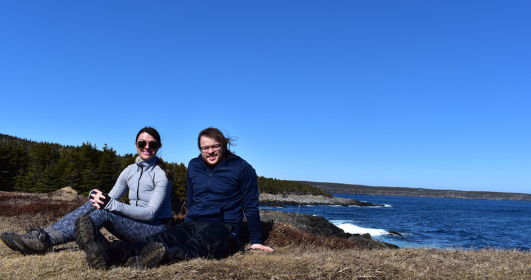 Dr. A and Graduate Student, Josh Taylor, at Tinker's Point, NL Canada