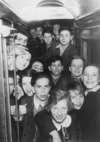 Jewish refugee youngsters on a train from Germany and Austria during the Kindertransport