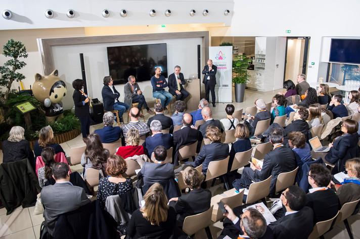 Table ronde en présence d'Olivier Derrien, David Lorrain, Nicolas Chabanne et François Veillerette, animée par Vincent Auriac et Yaëlle Aferiat.  photo: Corinne Simon