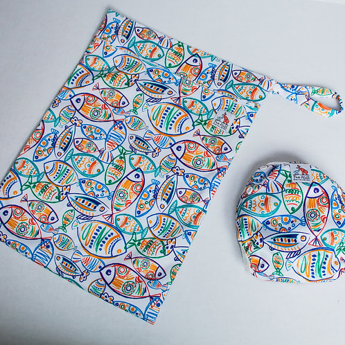 Art Fish Reusable Swim Diaper and Wet Bag Bundle