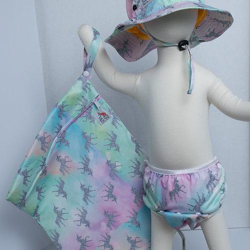 Unicorn 3 Piece (UPF 50 Sun Hat, Swim Diaper, and Wet Bag) Bundle