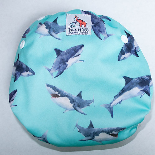 One Size Fits Most Reusable Swim Diaper WATERCOLOR SHARK
