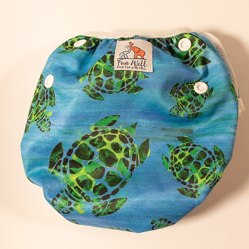 One Size Fits Most Reusable Swim Diaper SEA TURTLES