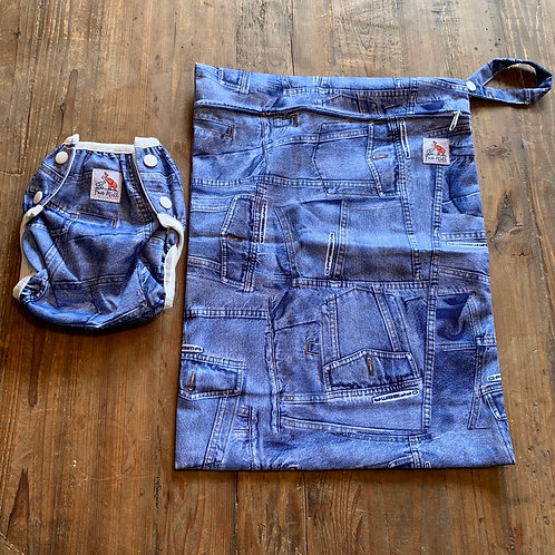 Matching Jean One Size (8-36lbs) Diaper and Wet Bag