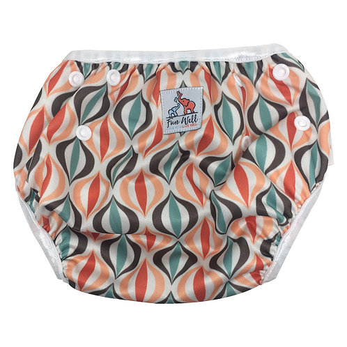 One Size Fits Most Reusable Swim Diaper ORANGE PATTERN