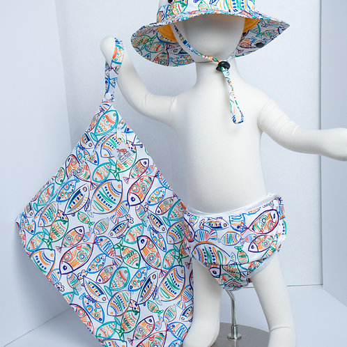 Art Fish 3 Piece (UPF 50 Sun Hat, Swim Diaper, and Wet Bag) Bundle