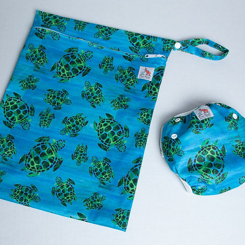 Sea Turtles Reusable Swim Diaper and Wet Bag Bundle