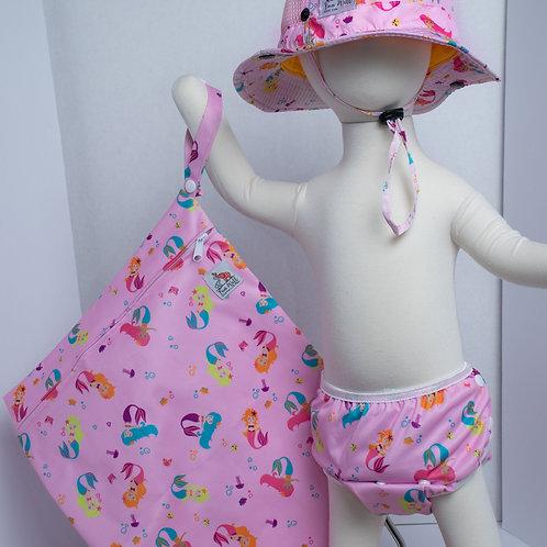 Pink Mermaid 3 Piece (UPF 50 Sun Hat, Swim Diaper, and Wet Bag) Bundle
