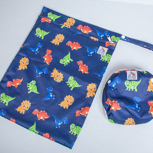 Dino Reusable Swim Diaper and Wet Bag Bundle