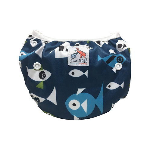 One Size Fits Most Reusable Swim Diaper BLUE FISH
