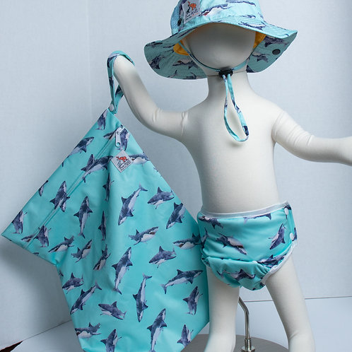 Watercolor Shark 3 Piece (UPF 50 Sun Hat, Swim Diaper, Wet Bag) Bundle