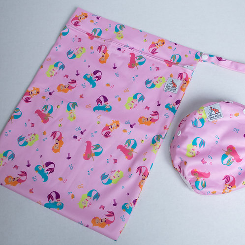 Pink Mermaid Reusable Swim Diaper and Wet Bag Bundle