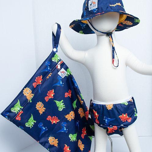 Dino 3 Piece (UPF 50 Sun Hat, Swim Diaper, and Wet Bag) Bundle
