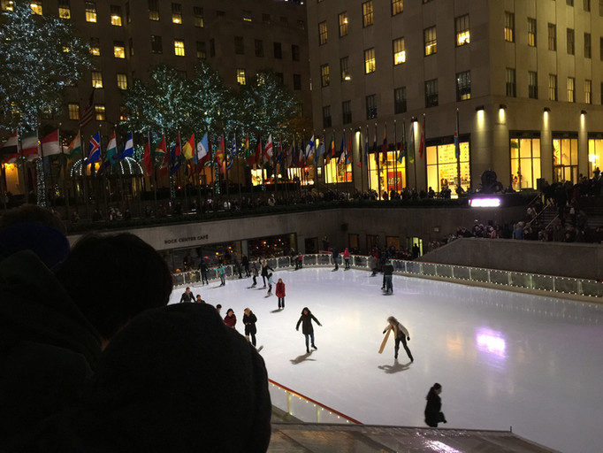 Ice skaing rink outside the Rockerfella center in New York City