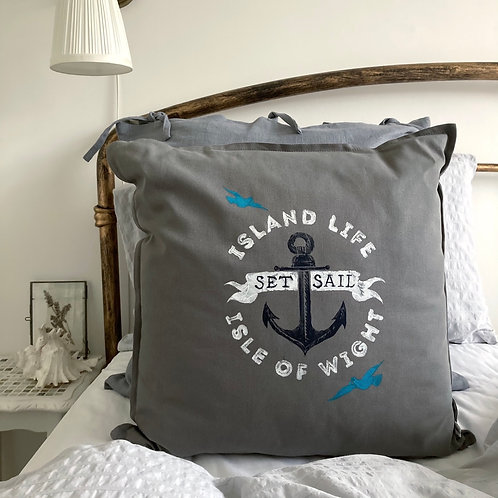 Island Life Anchor Cushion Grey