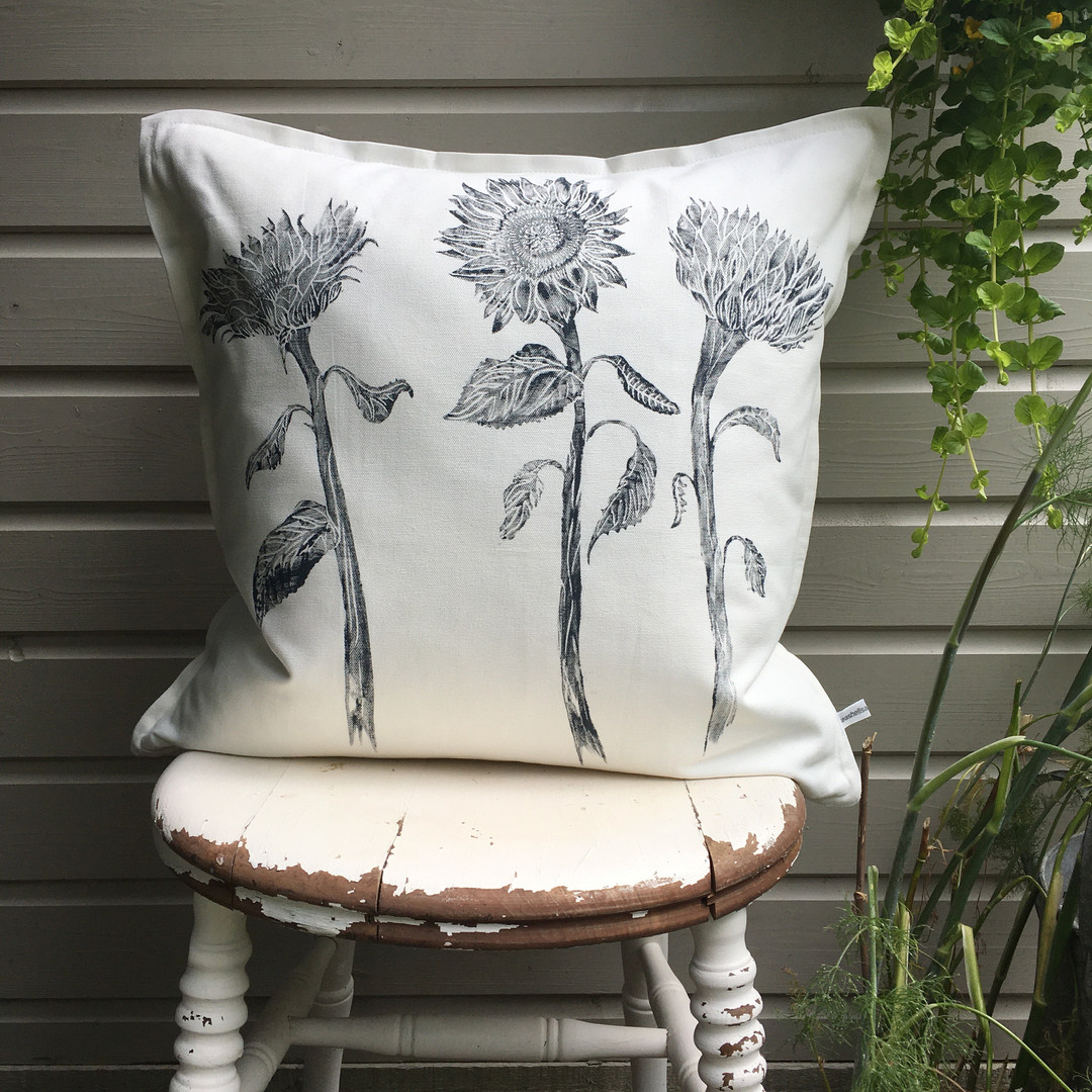 Sunflower Cushion In White