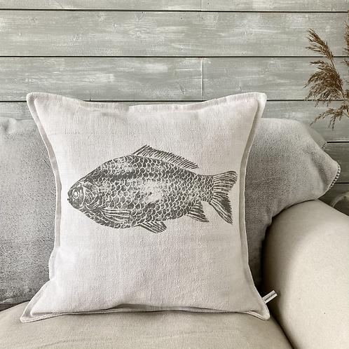 Vintage Linen Cushion - 'Amazing Catch'